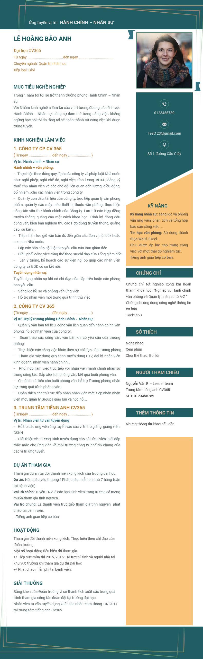 hướng dẫn cách sử dụng câu văn trong cv xin việc tiếng anh