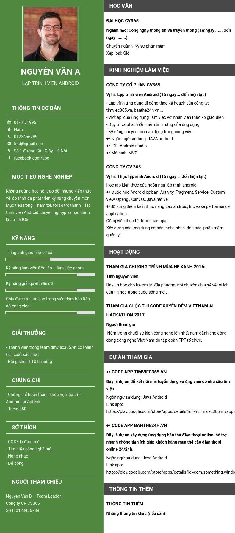 hướng dẫn tạo và tải mẫu cv online pdf