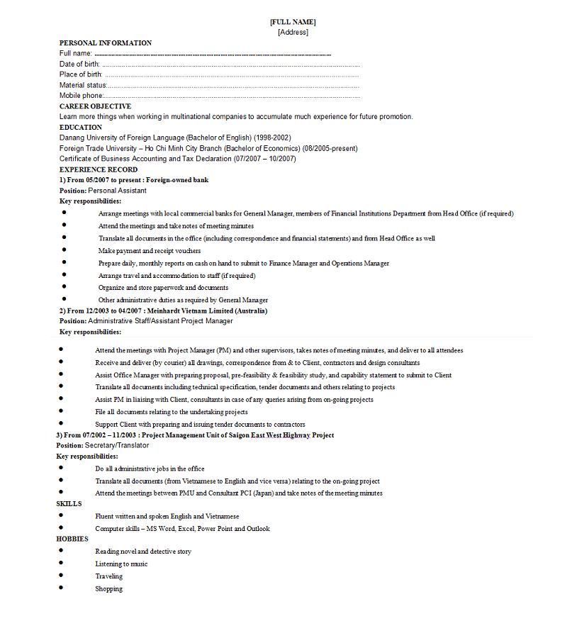 mẫu CV xin việc viết tay ấn tượng cho ứng viên