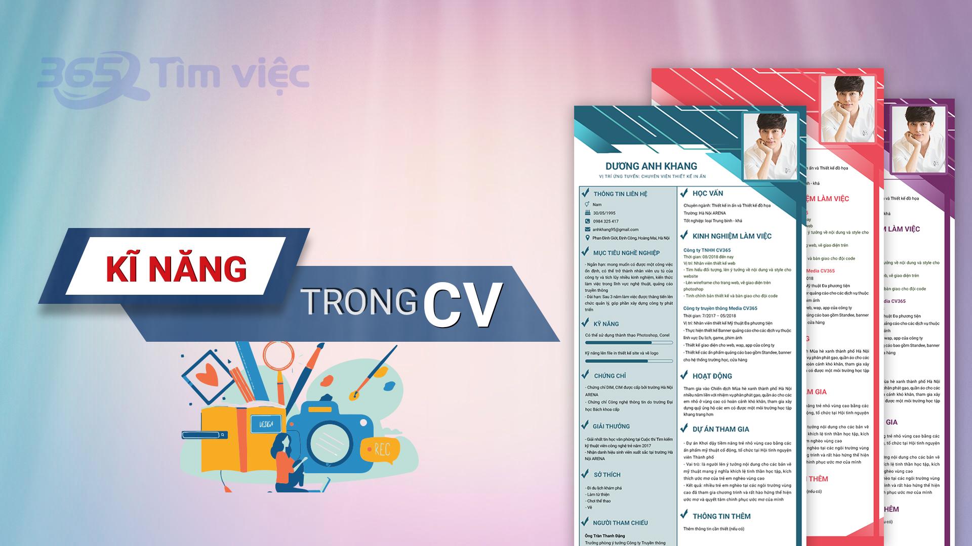 Phân loại kỹ năng CV của bạn