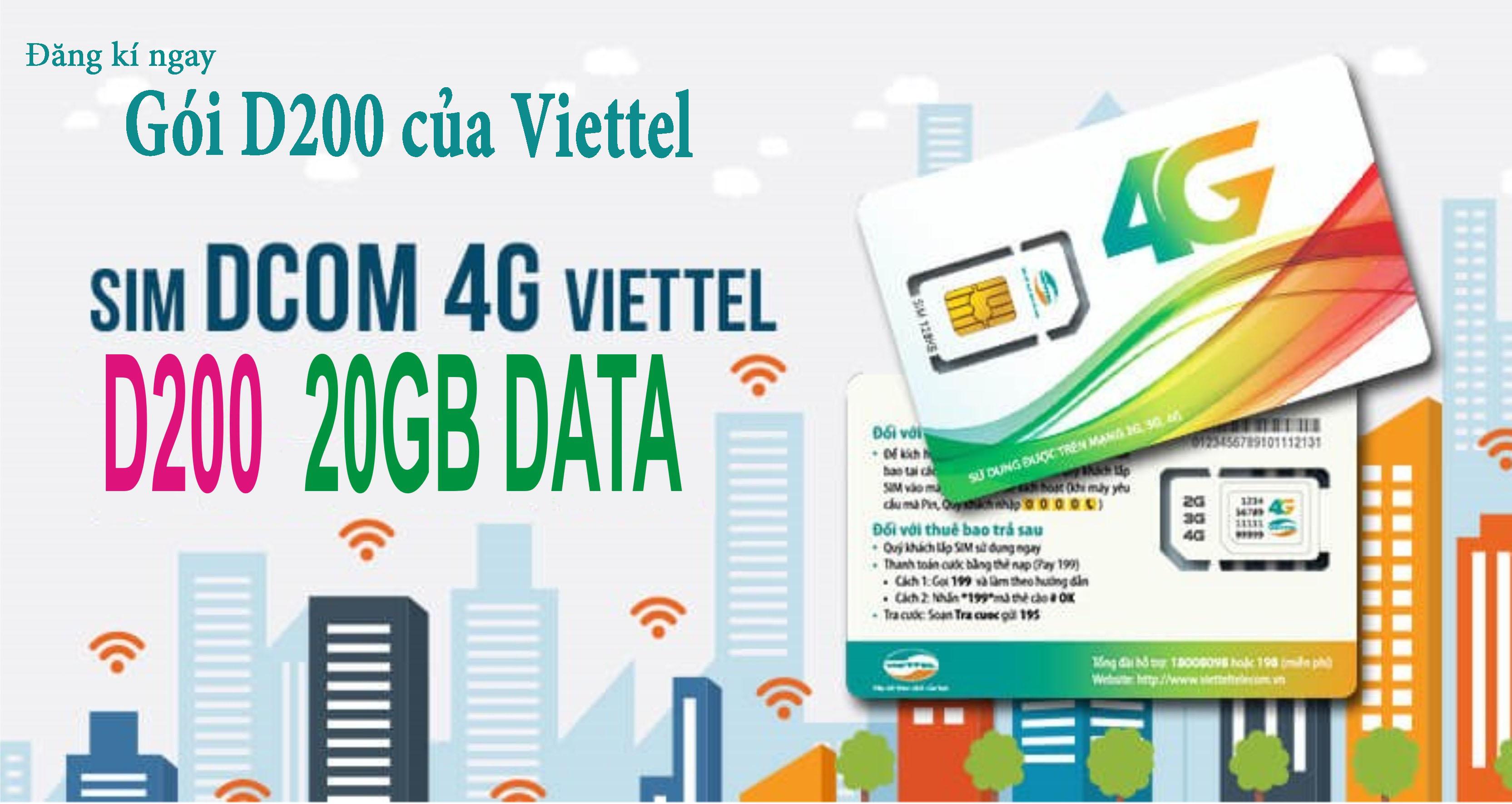 Đăng kí ngay gói 3G D200 Viettel nhận ưu đãi