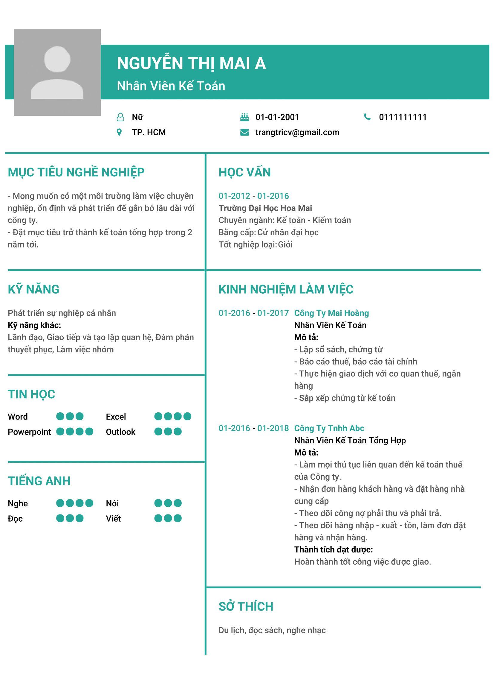Cách trình bày nội dung và hình thức của một mẫu CV ấn tượng